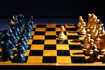 White and black chess pieces before the game starts