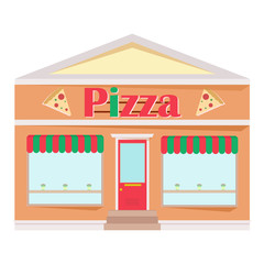 Pizza restaurant facade. Front view of fast food restaurant in flat style. Vector illustration.