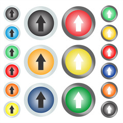 Set of circular web buttons or icons on which the arrow points up. Vector graphic illustration.