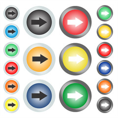 Set of circular web buttons or icons on which the arrow points next or right. Vector graphic illustration.