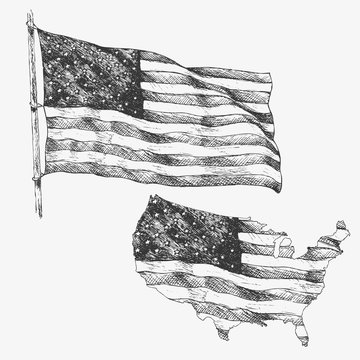 United States of America, USA, flag. Hand drawn illustration