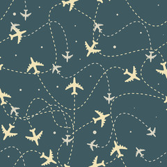 Travel around the world airplane routes seamless pattern, background, Endless texture can be used for wallpaper