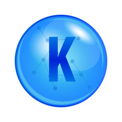 Mineral Kalium or Potassium capsule. Vector icon for health. Blue shining vitamin pill.