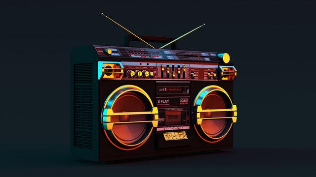 Boombox Moody 80s lighting 3d illustration