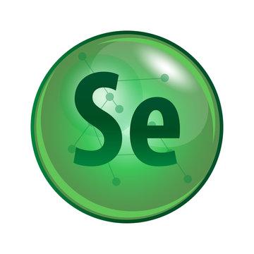 Mineral Selenium capsule. Vector icon for health. Green shining vitamin pill.