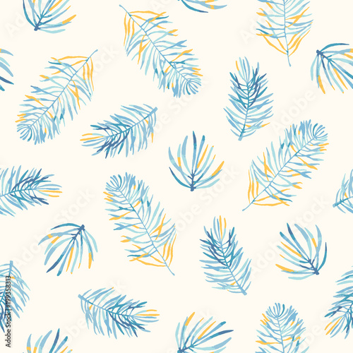Seamless Vector Pattern With Coloful Pine Branches In Blue And Gold Colors Floral Background For