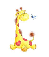 Cute giraffe and dragonfly