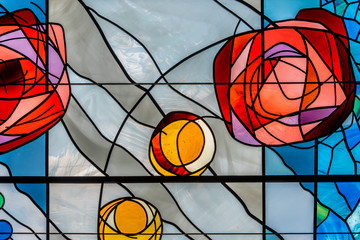 Detail of a modern stained glass window