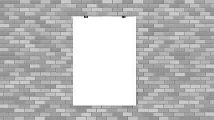 Poster on binder clips. Paper templates on brick wall. Realistic mock up. Empty frames for your business design. Brick wall. Vector template for lettering, quote, images or logos.