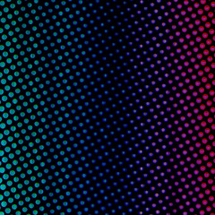 Neon Retro Teal Fading to Blue Purple and Pink Glowing Halftone Dots Circle Spots Pattern Texture Dark Pop Glow Gradient Background Design Art Illustration for Graphic Element or Backdrop Use.