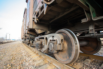 wheels of metal freight cars