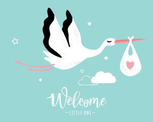 Vector illustration of a baby shower Invitation with stork
