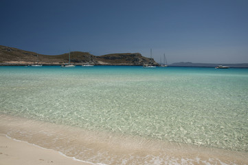 Crystal clear waters of exotic Simos beach at Elafonisos island in Greece