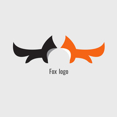 fox black and Orange logo, Symbol. Vector image. on white background