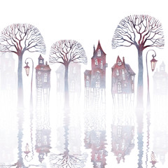 Watercolor illustration of a town standing on stilts in water. Fog, old crooked houses, bare trees and lanterns, reflecting on rippled water.