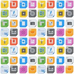 File types and formats seamless pattern background presentation document symbol application software folder vector illustration.