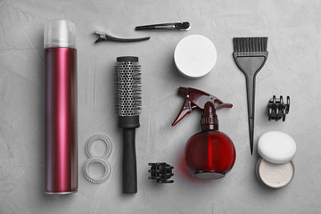 Professional hairdresser set on grey background