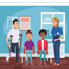 Doctors office cartoon with patient vector illustration graphic design