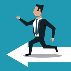 Businessman running on arrow over blue background vector illustration graphic design