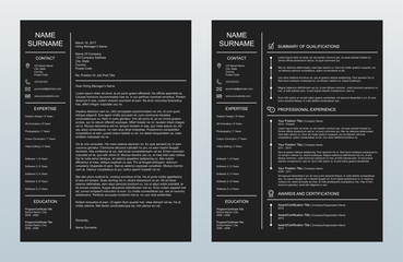 Minimalist Creative Cover Letter And One Page Resume/CV Template On Charcoal Background