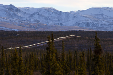 High angle view of Trans-Alaskan Pipeline amidst trees against mountains during winter