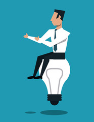Businessman seated on bulb simbolizing ideas vector illustration graphic design