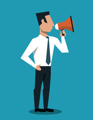 Businessman using bullhorn to call attention vector illustration graphic design