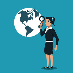 Business woman searching on world with magnifying glass vector illustration graphic design
