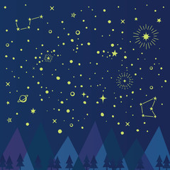 Vector background illustration of the starry sky