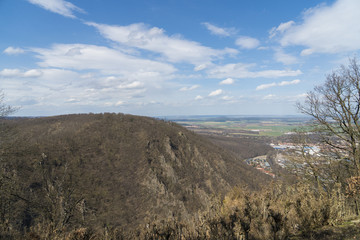 View from Hexentanzplatz to the Harz mountains and Bodetal in Thale Germany