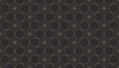Seamless antique palette black and gold stitched traditional Japanese hexagonal sashiko textile pattern vector
