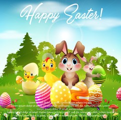 Easter Bunny with baby chicks and duckling in the forest