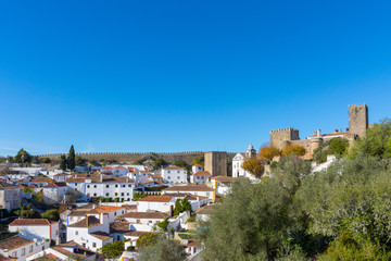 Obidos, Portugal. December 2, 2017. Urban scene of the small town of Obidos, in the interior of Portugal.