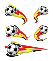Football black yellow red and soccer symbols set