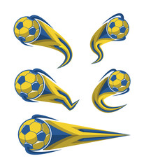 Football yellow blue and soccer symbols set