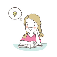 Vector illustration character design a girl reading for the exam and has a good idea Draw doodle cartoon style