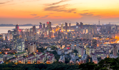 A bird's eye view of the beautiful city scene of the coastal city of Qingdao