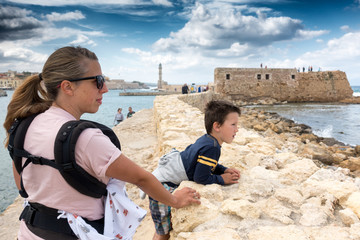 Mother and son sightseeing, Chania, Crete, Greece