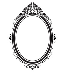 Oval frame and borders black and white, Thai pattern, vector illustration