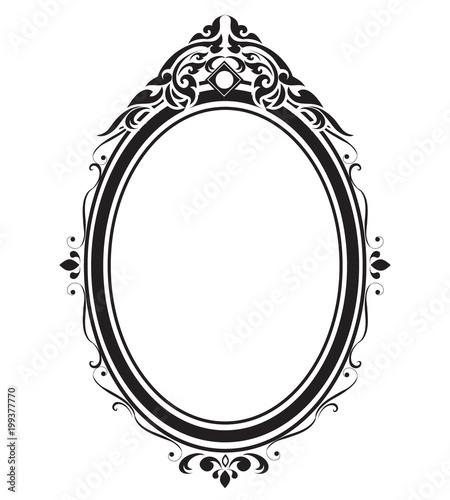 Oval frame and borders black and white, Thai pattern, vector ...