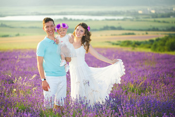 Young family in a lavender field