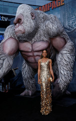 "Cast member Harris poses at the premiere for the movie ""Rampage"" in Los Angeles"