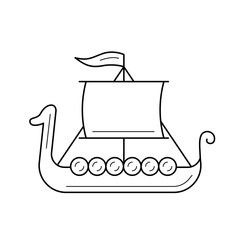Viking ship vector line icon isolated on white background. Viking ship line icon for infographic, website or app. Icon designed on a grid system.