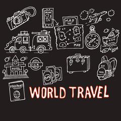 world travel, doodle