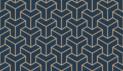 Seamless tan blue and brown asian trilateral pattern vector