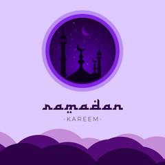 Ramadan Kareem Design Template. Night Sky Ramadan Kareem.