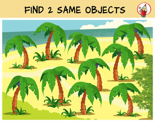 Find two the same palm tree in the picture. Educational matching game for children. Cartoon vector illustration
