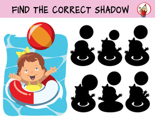 Little baby girl in a swimming circle playing with a ball in the water. Find the correct shadow. Educational matching game for children. Cartoon vector illustration