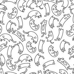 Seamless pattern lazy cat, vector illustration
