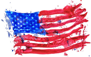 United states of America flag painted by hand and watercolors EPS10 vector illustration,